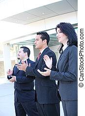 hispanique, applaudir, equipe affaires