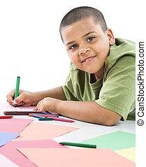 hispanique, coloring., garçon