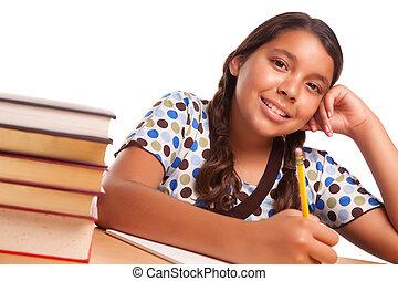 hispanique, fille souriante, joli, étudier