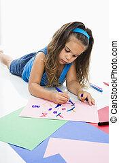 hispanique, girl, coloration, floor.