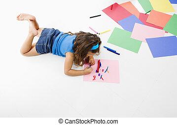 hispanique, girl, coloring.