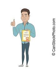 hispanique, homme affaires, certificat., tenue, jeune