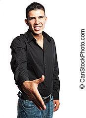 hispanique, homme affaires, poignée main