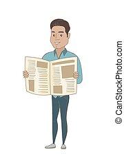 hispanique, lecture, jeune, homme affaires, journal.