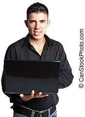 hispanique, ordinateur portable, homme affaires