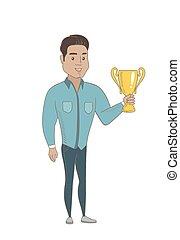 hispanique, trophy., jeune, tenue, homme affaires