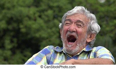 hispanique, vieux, rire, homme âgé