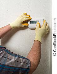hispano, aire acondicionado, reparar a hombre, amaestrado, mantenimiento