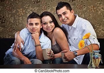 hispano, alegre, familia