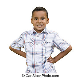 hispano, blanco, niño joven