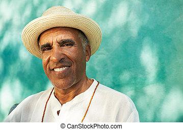 hispano, cámara, retrato, 3º edad, hombre sonriente