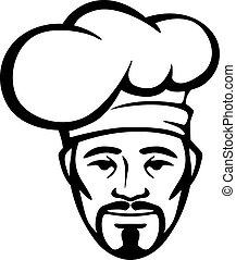 hispano, chef, en, un, blanco, toque