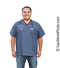 hispano, enfermera, macho, aislado, blanco