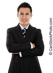 hispano, joven, hombre de negocios