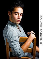 hispano, joven, sensual, hombre