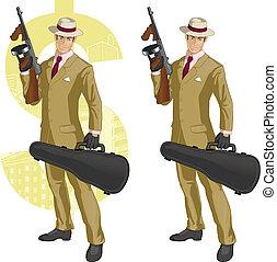 hispano, mafioso, con, tommy-gun, caricatura
