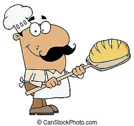 hispano, panadero, bread, caricatura, hombre