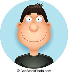 hispano, sonriente, caricatura, hombre