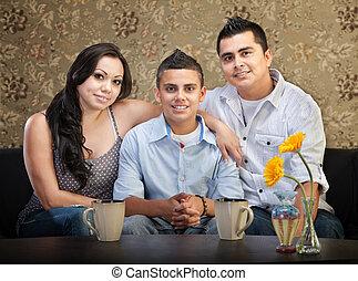 hispano, tres, familia