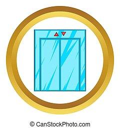 hiss, ikon, stängd dörr