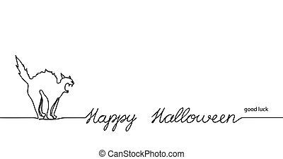 hisses., noir, background.one, continu, bannière, halloween, dessin, illustration., fond, heureux, vecteur, blanc, arqué, sien, dos, ligne, minimal, chat