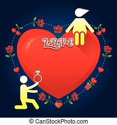 história, amor, símbolo, human, :, casar