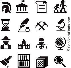 história, &, arqueologia, ícones
