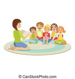 história, crianças, grupo, ao redor, chão, sentando, pequeno, leitura, professor