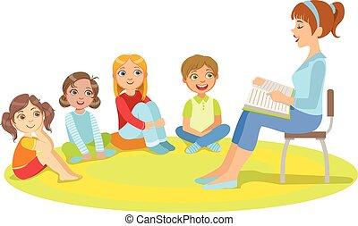 história, crianças, grupo, ao redor, sentando, pequeno, leitura, professor