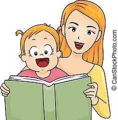 história, família, ler, livro, mãe, menina bebê