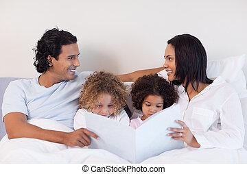 história, família, quarto, leitura