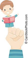 história, ilustração, fantoche mão, dedo, contar