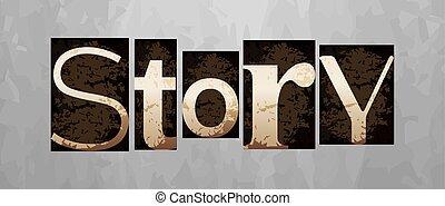 história, letterpress, conceito, vindima, vetorial, tipo