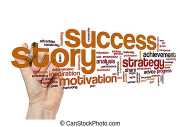 história, palavra, sucesso, nuvem