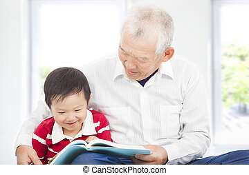 história, seu, neto, avô, livro, leitura