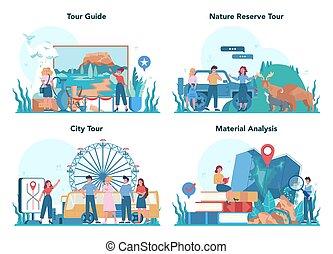 história, turistas, escutar, excursão, set., férias, conceito, guia