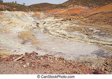 histórico, área, copper-gold, mina