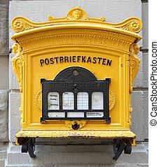 histórico, alemão, caixa postal, ligado, parede