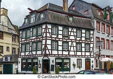 histórico, alemania, casas, monschau