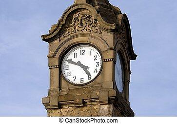 histórico, alemania, düsseldorf, reloj