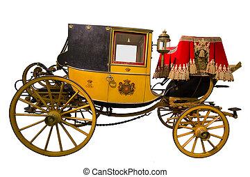 histórico, amarillo, carruaje