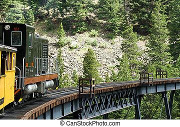 histórico, baixo, trilhas, trem, vinda, vapor