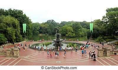 histórico, bethesda, terraço, em, parque central