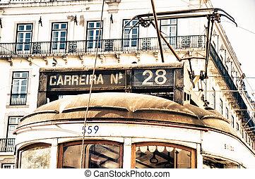 histórico, bonde, em, lisboa, portugal