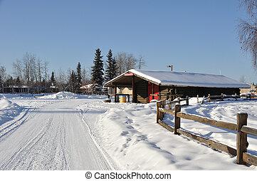 histórico, cabana, em, fairbanks, alasca