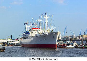 histórico, cargueiro, san diego, em, hamburgo