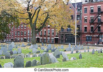 histórico, cemitério, em, boston