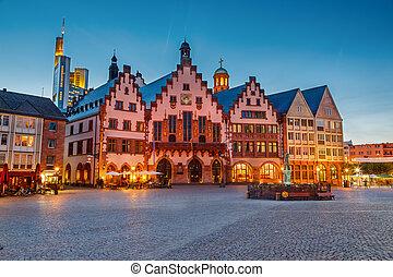 histórico, centro, de, frankfurt