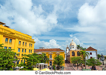 histórico, colonial, praça