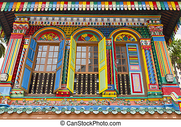 histórico, coloridos, peranakan, casa